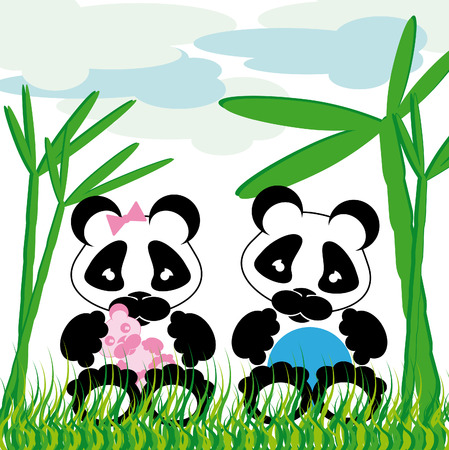 sweet panda cuddles with bamboo grass and cloud background Vector