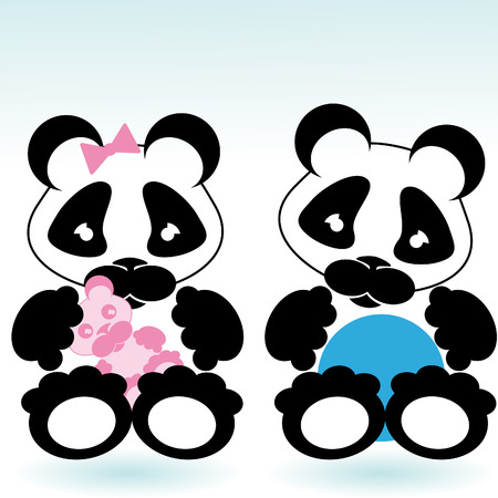 cartoon style panda boy and girl with toys Vector