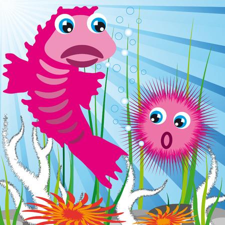 sea scape bottom with fish and sea-urchin Vector