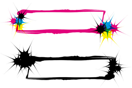two abstract inkblot frames in CMYK with transparency Vector
