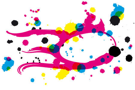 inkblots: drawing with CMYK inkblots in transparency look