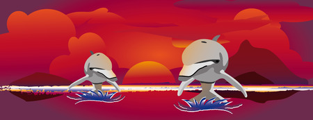 two out of the water jumping dolphins with a colorful sunset Stock Vector - 5180863