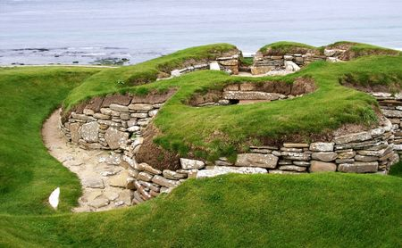 old historic settlement skara brae on orkney island