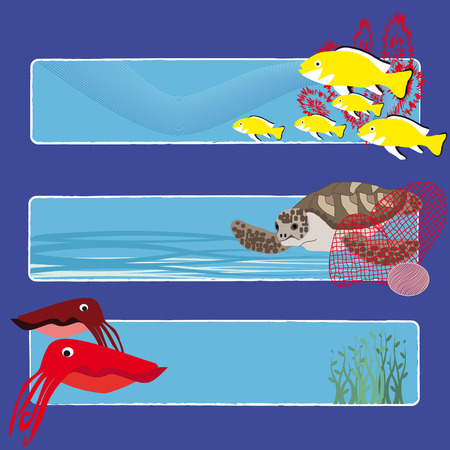 three tropical fish banners no text indicate sea world creatures Vector