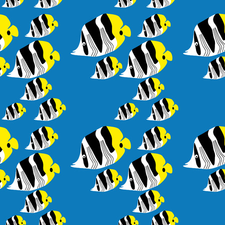 seamless butterflyfish pattern on a bright blue background Vector
