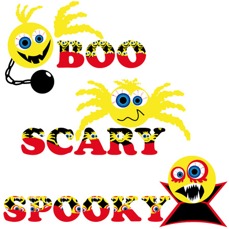 three scary halloween smileys with text boo scary spooky Stock Vector - 5256186