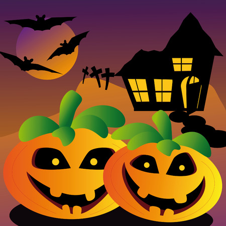 evil looking halloween pumpkin with old house on a hill and bats and tombstone Vector