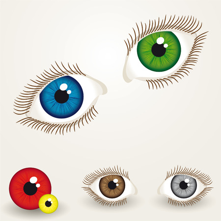 collection of colorful eyes with easy to edit pupil