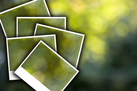 old vintage photo frame look with green bokeh photo