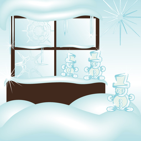cristal frozen window covered with snow and snowmen  Illustration