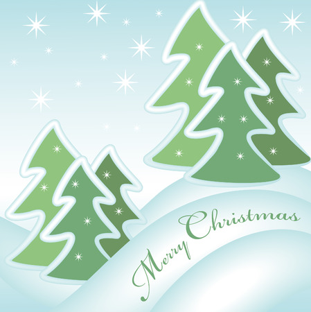 merry christmas greeting card with snow covered xmas trees