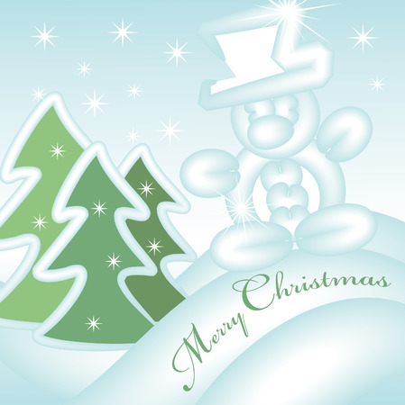 merry christmas greeting card with sliding snowman down the hill