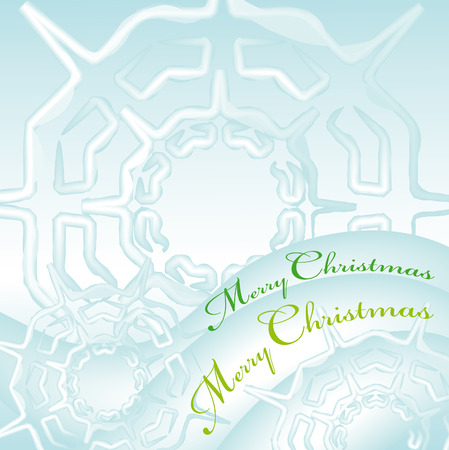 merry christmas greeting card with snow flakes ice cristal  Illustration