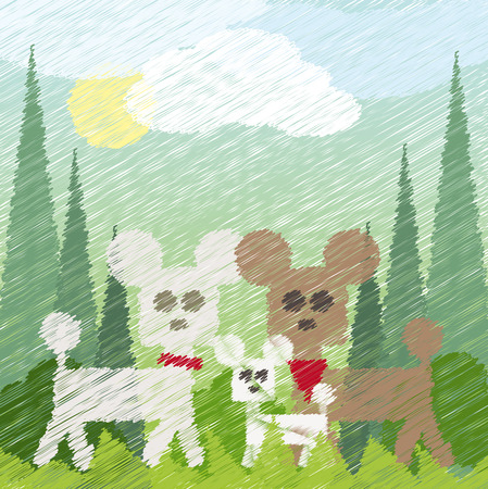 three poodles taking a walk in the park
