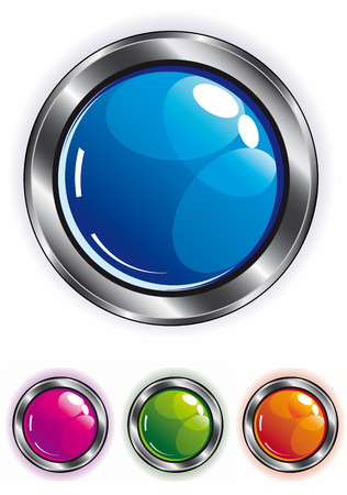 elegant shiny web button in blue pink green and orange with metal frame Stock Vector - 6037904