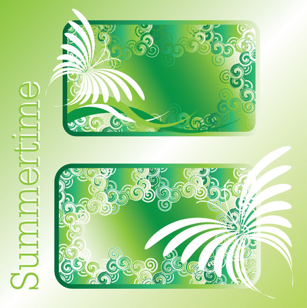 green summertime design with abstract butterflies