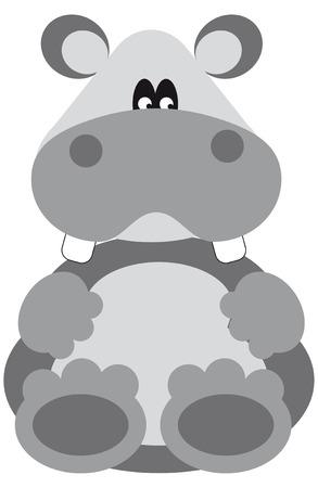 hipopotamo caricatura: Caricatura de gracioso hipop�tamo gris mirando usted