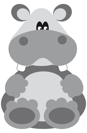 funny grey hippo cartoon looking at you