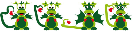 four funny cartoon love dragons