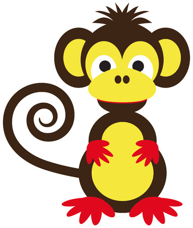 cute cartoon monkey: funny monkey in brown and yellow with curly tail