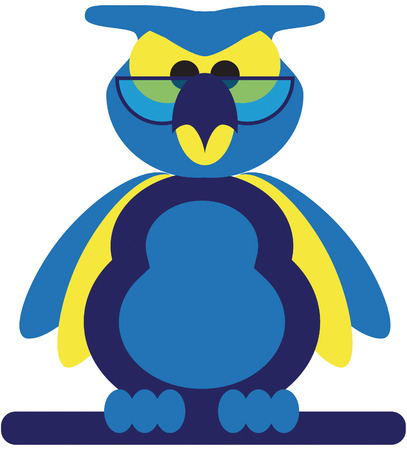 blue and yellow funny wise owl with glasses