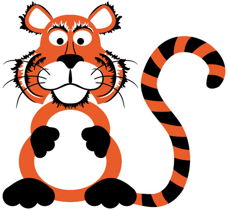 cute cartoon tiger with stripes looking at you