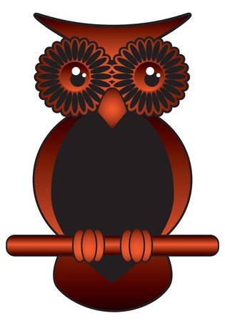brown and black funny wise owl with big bright eyes Illustration