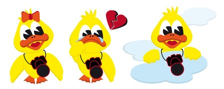 collection of cartoon girl broken heart and cloud ducks
