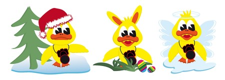 collection of cartoon ducks dressed like Xmas easterbunny and an angel Illustration