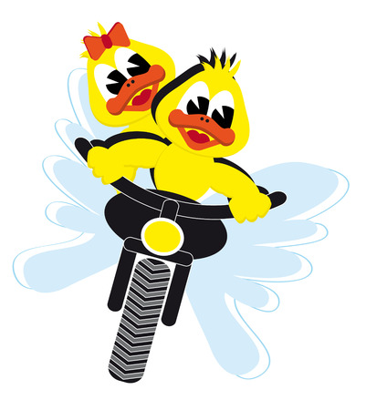 motor duck couple riding on a motor bike