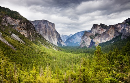 tunnel  viewpoint at yosemite national park with heavy overcast and bright green fir forest photo