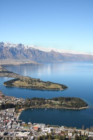 wakatipu: View across Queenstown and Lake Wakatipu to the Remarkables in New Zealand