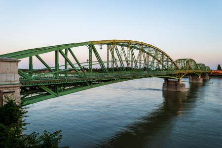 Bridge connecting two countries, Slovakia and Hungaria before sunset in Komarno, Slovakia Reklamní fotografie