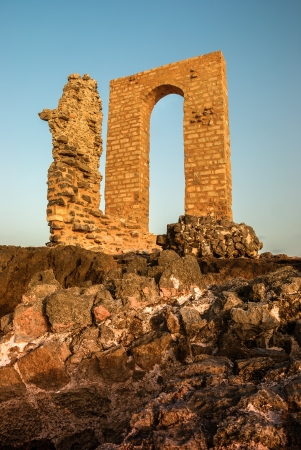 mediaval: Ruins of a ancient arch, Africa cape, Mahdia, Tunisia Stock Photo