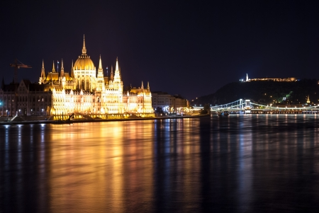 Hungarian Parliament Building as seen from Margit Hid at night, long exposured photo