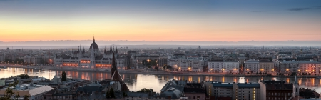 cityscape of Budapest with Hungarian Parliament and Danube River photo