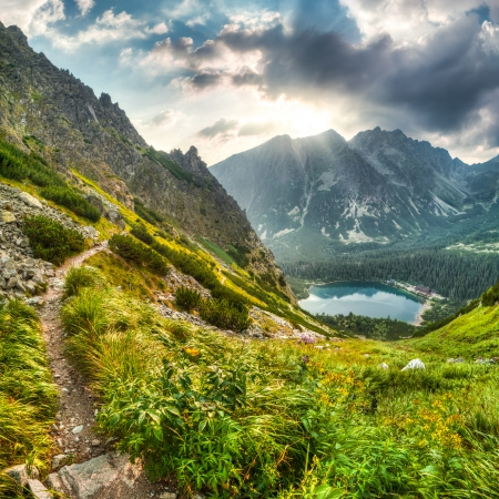 mountain landscape with mountain chalet near Poprad Pond, High Tatras, Slovakia