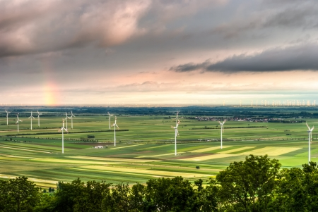 landscape with windmills in Austria near Berg photo