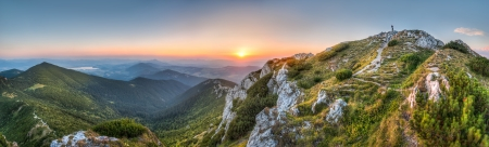 liptov: Landscape, View From Sivy Vrch Towards Low Tatra Mountains Stock Photo