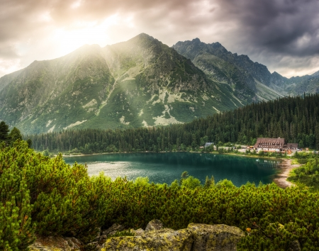 Mountain Landscape With Mountain Chalet Near Poprad Pond, High Tatras, Slovakia photo