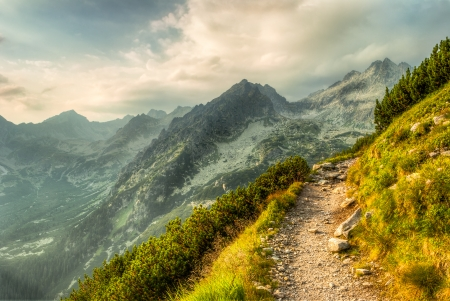 Mountain Landscape With a Path at Summer Sunset photo