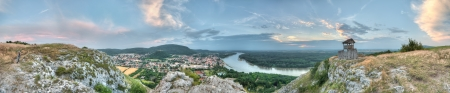 panorama of rhe small town and country from the hill, Hainburg, Austria photo
