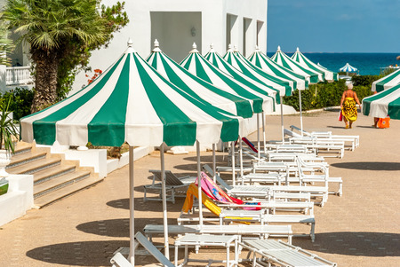 sunshades: Row of Free Sun Loungers with Sunshades in Hotel Resort