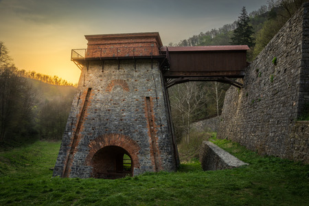 karst: Construction of the Charcoal Ironworks Known as Frantiscina Hut near Adamov, Czech Republic Stock Photo
