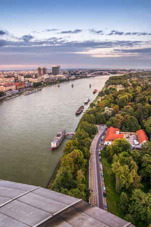 garden settlement: Danube River with Anchored Boats in Bratislava, Slovakia as Seen from Observation Deck