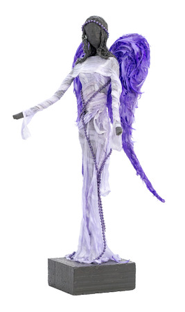 outstretched arms: Paverpol Sculpture of an Angel with Violet Wings and Outstretched Arms Stock Photo