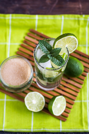 alcoholic drink: Mojito Lime Alcoholic Drink Cocktail Overhead Stock Photo