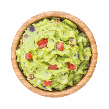 Guacamole in Wooden Bowl Isolated on White Background Stock Photo