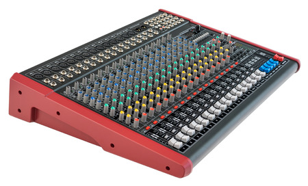 Professional Mixing Console. Music Device Isolated on White Background Фото со стока