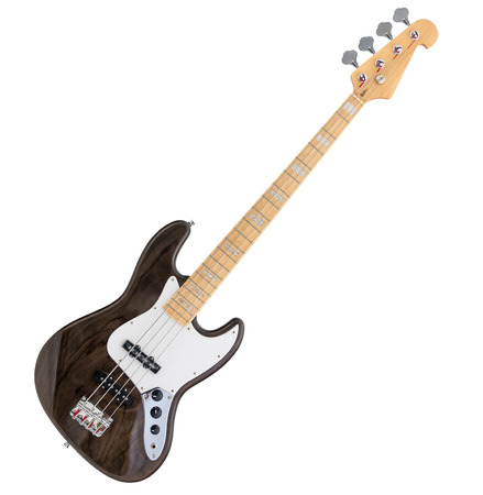 Brown Electric Bass Guitar Isolated on White Background